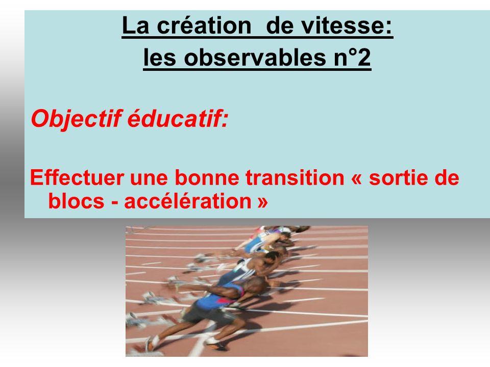 La création de vitesse: les observables n°2 Objectif éducatif: Effectuer une bonne transition « sortie de blocs - accélération »