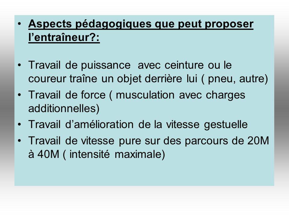 Aspects pédagogiques que peut proposer lentraîneur?: Travail de puissance avec ceinture ou le coureur traîne un objet derrière lui ( pneu, autre) Trav