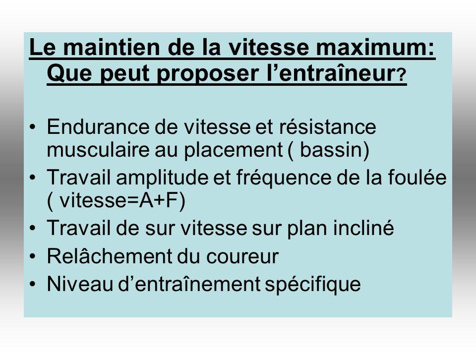 Le maintien de la vitesse maximum: Que peut proposer lentraîneur ? Endurance de vitesse et résistance musculaire au placement ( bassin) Travail amplit