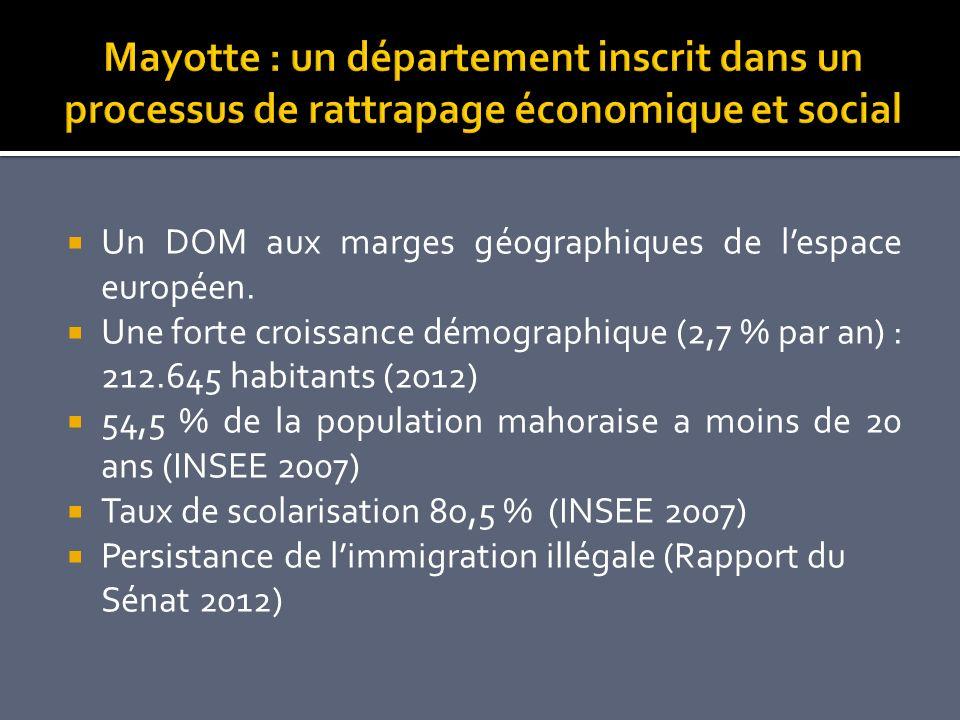 Un DOM aux marges géographiques de lespace européen. Une forte croissance démographique (2,7 % par an) : 212.645 habitants (2012) 54,5 % de la populat