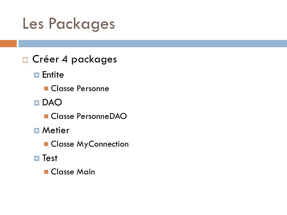 Les Packages Créer 4 packages Entite Classe Personne DAO Classe PersonneDAO Metier Classe MyConnection Test Classe Main