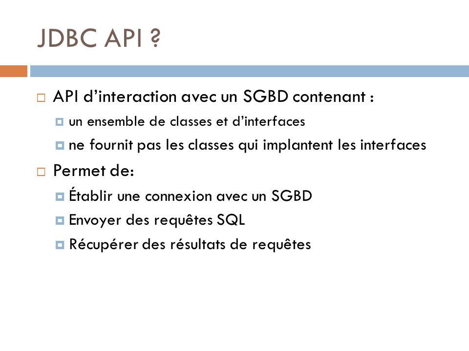 JDBC API ? API dinteraction avec un SGBD contenant : un ensemble de classes et dinterfaces ne fournit pas les classes qui implantent les interfaces Pe