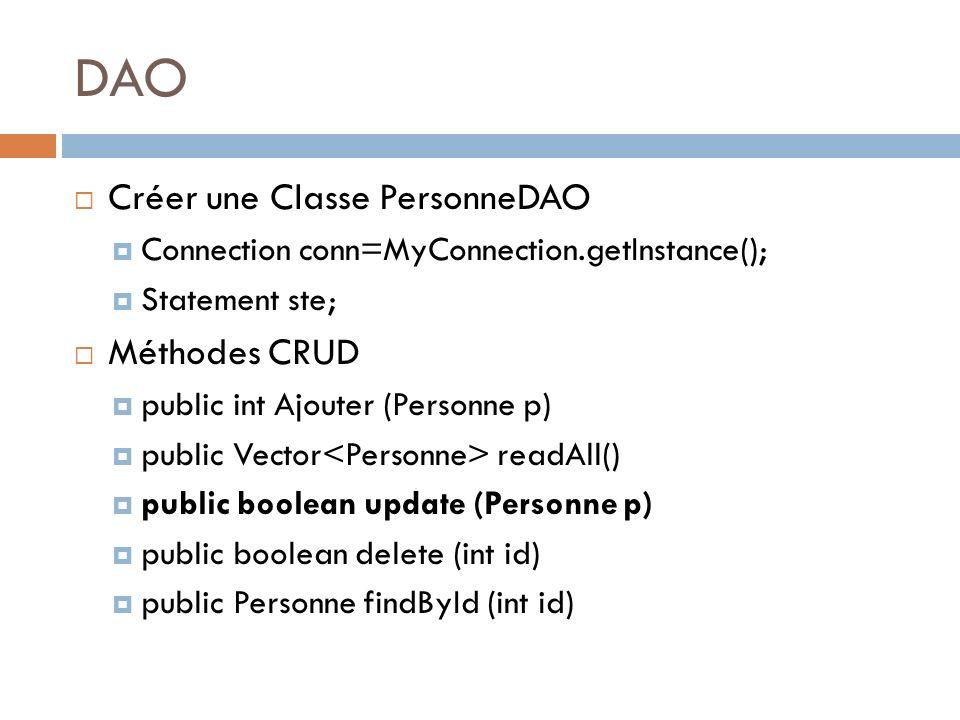 DAO Créer une Classe PersonneDAO Connection conn=MyConnection.getInstance(); Statement ste; Méthodes CRUD public int Ajouter (Personne p) public Vecto