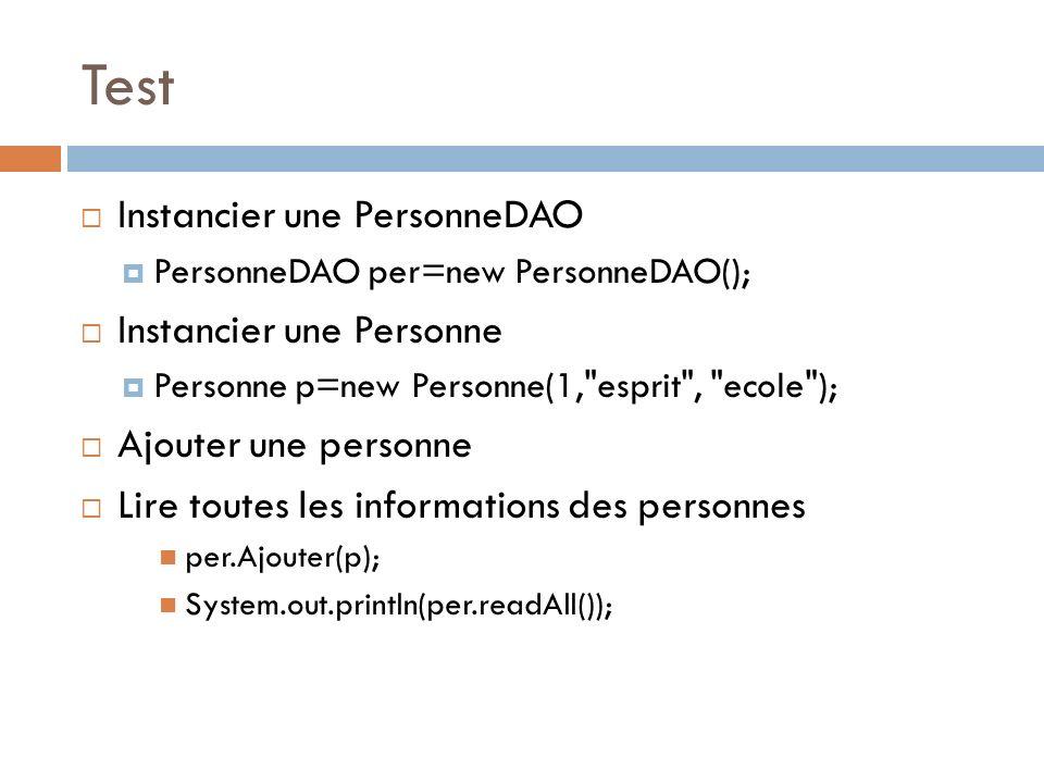 Test Instancier une PersonneDAO PersonneDAO per=new PersonneDAO(); Instancier une Personne Personne p=new Personne(1,