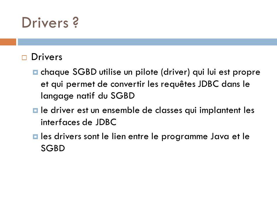Drivers ? Drivers chaque SGBD utilise un pilote (driver) qui lui est propre et qui permet de convertir les requêtes JDBC dans le langage natif du SGBD