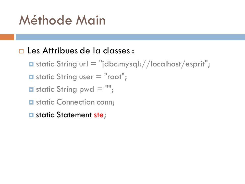 Méthode Main Les Attribues de la classes : static String url =
