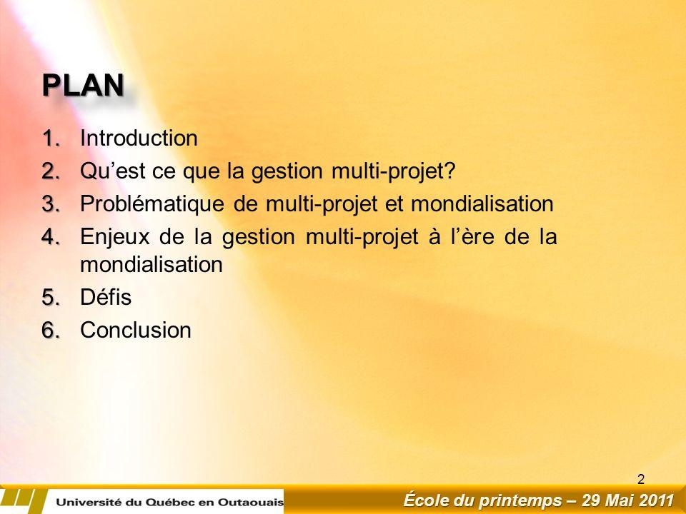 PLANPLAN 1.1.Introduction 2. 2.Quest ce que la gestion multi-projet.
