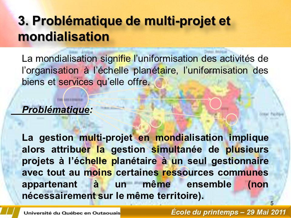 3. Problématique de multi-projet et mondialisation La mondialisation signifie luniformisation des activités de lorganisation à léchelle planétaire, lu