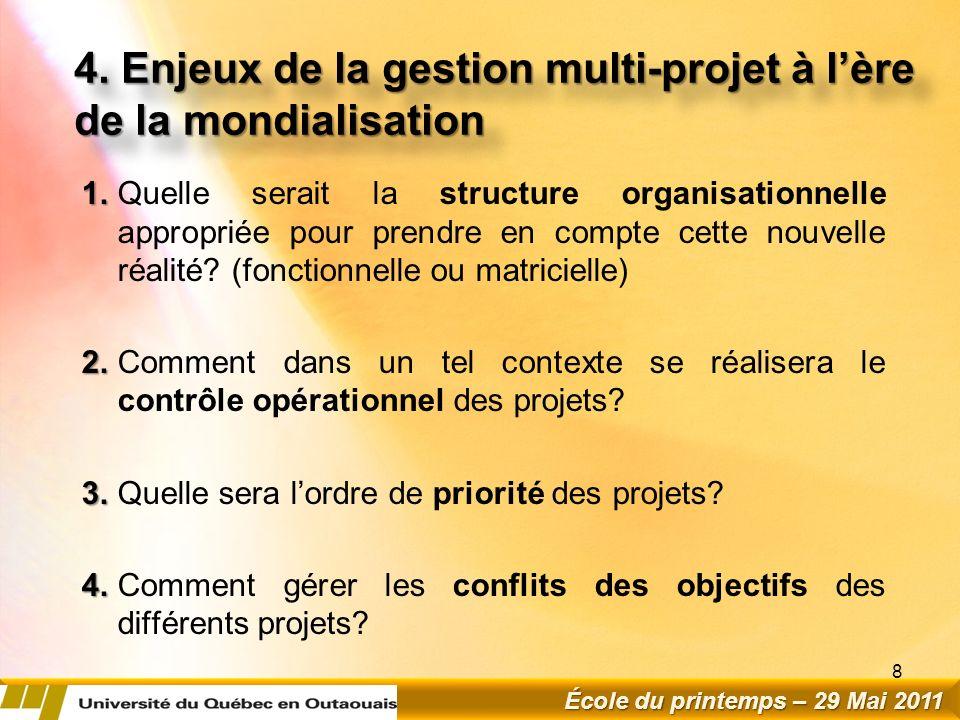 4.Enjeux de la gestion multi-projet à lère de la mondialisation 1.