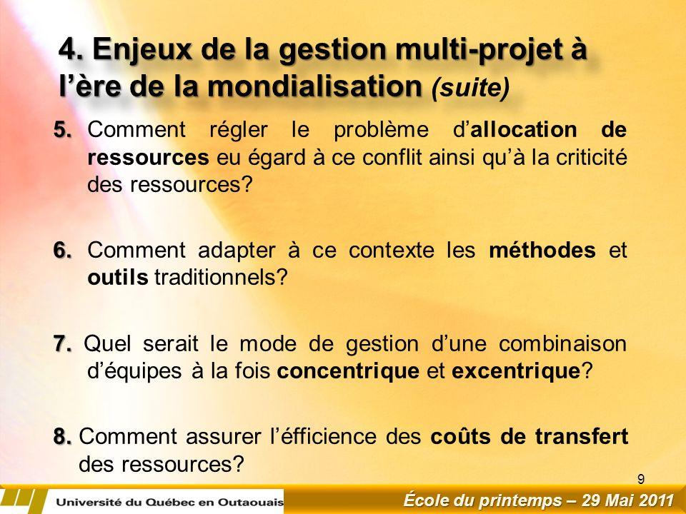 4.Enjeux de la gestion multi-projet à lère de la mondialisation 4.