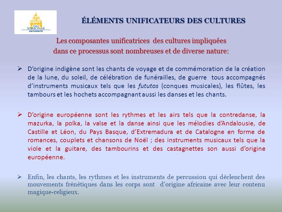 ÉLÉMENTS UNIFICATEURS DES CULTURES Les composantes unificatrices des cultures impliquées dans ce processus sont nombreuses et de diverse nature: Dorig
