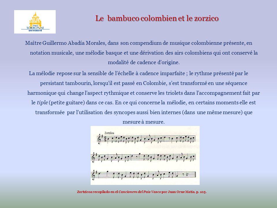 Le bambuco colombien et le zorzico Maître Guillermo Abadía Morales, dans son compendium de musique colombienne présente, en notation musicale, une mél
