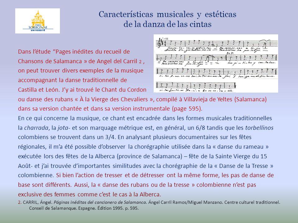 Características musicales y estéticas de la danza de las cintas Dans létude Pages inédites du recueil de Chansons de Salamanca » de Angel del Carril 2