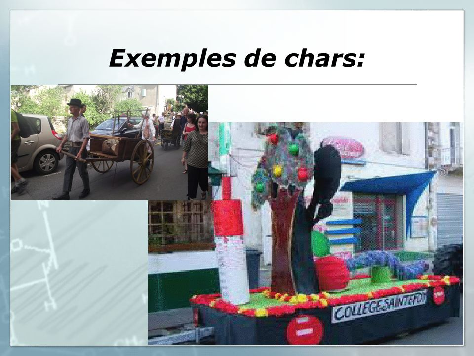 Exemples de chars: