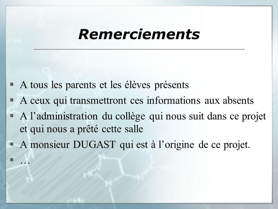 Remerciements A tous les parents et les élèves présents A ceux qui transmettront ces informations aux absents A ladministration du collège qui nous su