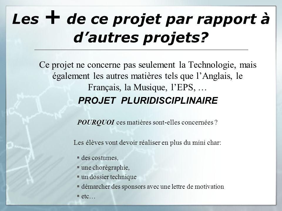 Les + de ce projet par rapport à dautres projets? Ce projet ne concerne pas seulement la Technologie, mais également les autres matières tels que lAng