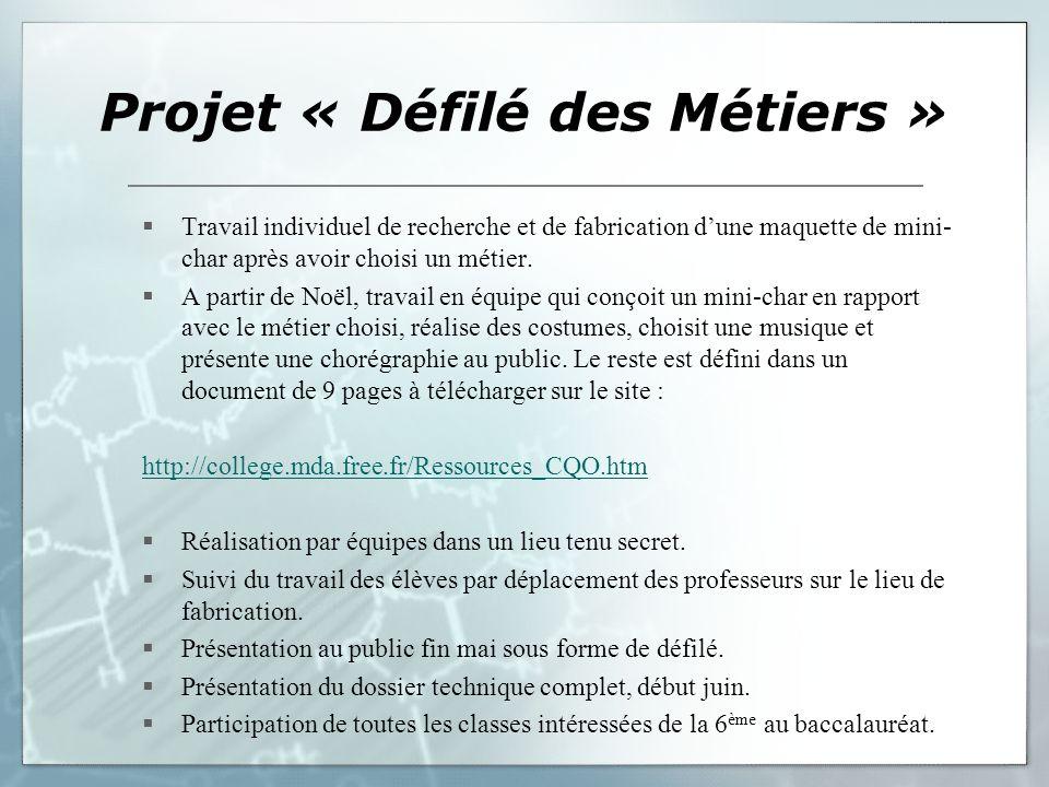 Projet « Défilé des Métiers » Travail individuel de recherche et de fabrication dune maquette de mini- char après avoir choisi un métier. A partir de