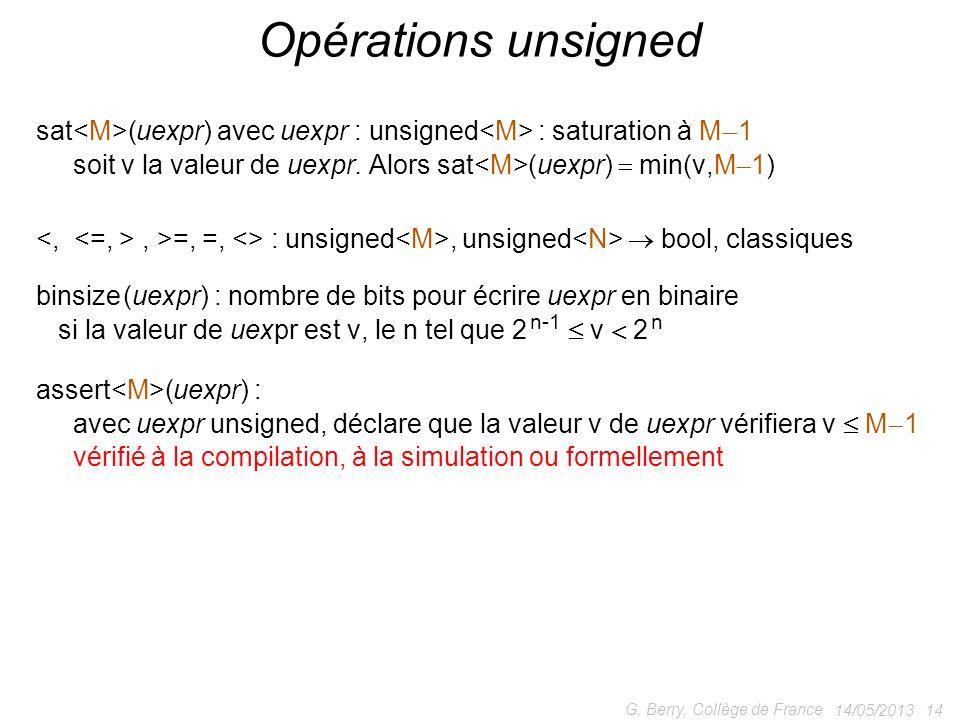 14/05/2013 14 G. Berry, Collège de France Opérations unsigned assert (uexpr) : avec uexpr unsigned, déclare que la valeur v de uexpr vérifiera v M 1 v