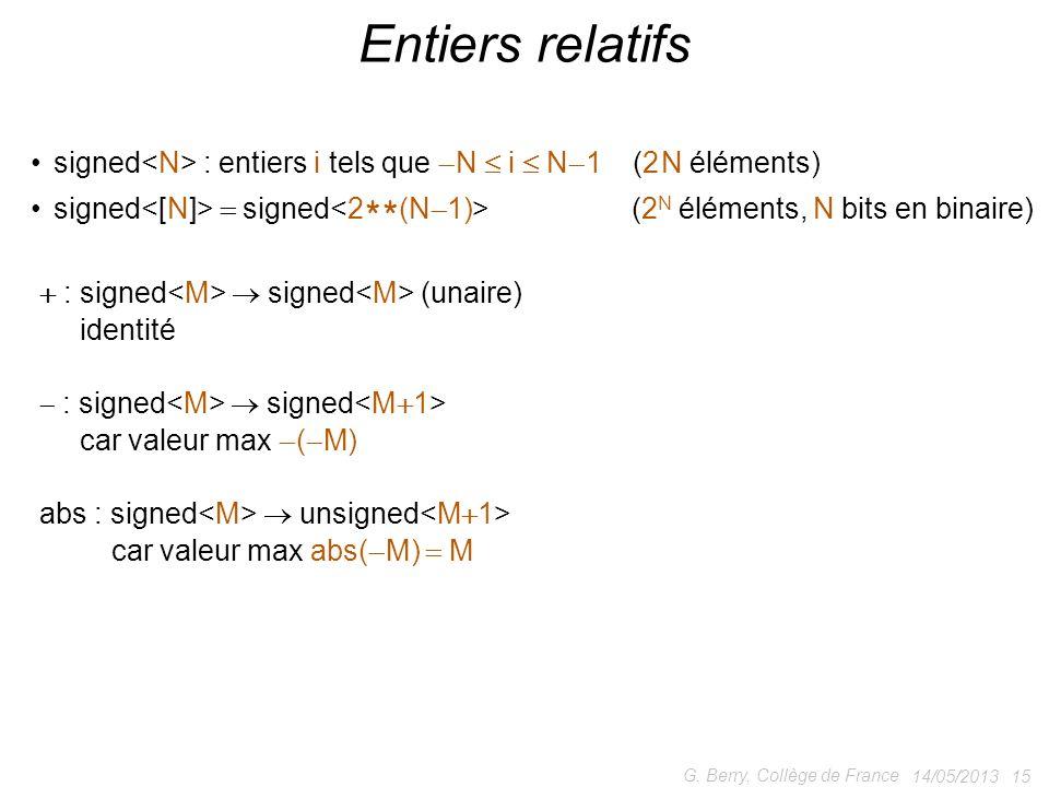 signed : entiers i tels que N i N 1 (2 N éléments) signed signed (2 N éléments, N bits en binaire) 14/05/2013 15 G. Berry, Collège de France Entiers r