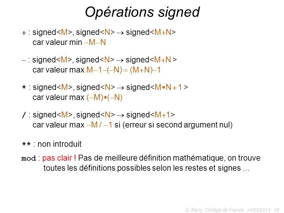 14/05/2013 16 G. Berry, Collège de France Opérations signed : signed, signed signed car valeur min M N : signed, signed signed car valeur max M 1 ( N)