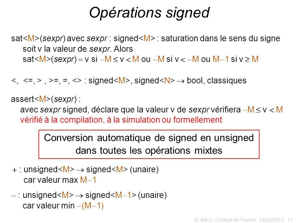 14/05/2013 17 G. Berry, Collège de France Opérations signed assert (sexpr) : avec sexpr signed, déclare que la valeur v de sexpr vérifiera M v M vérif
