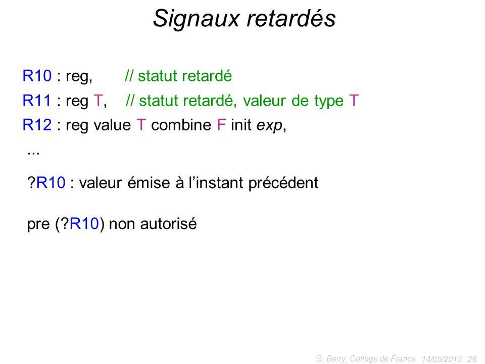14/05/2013 26 G. Berry, Collège de France Signaux retardés R10 : reg, // statut retardé R11 : reg T, // statut retardé, valeur de type T R12 : reg val
