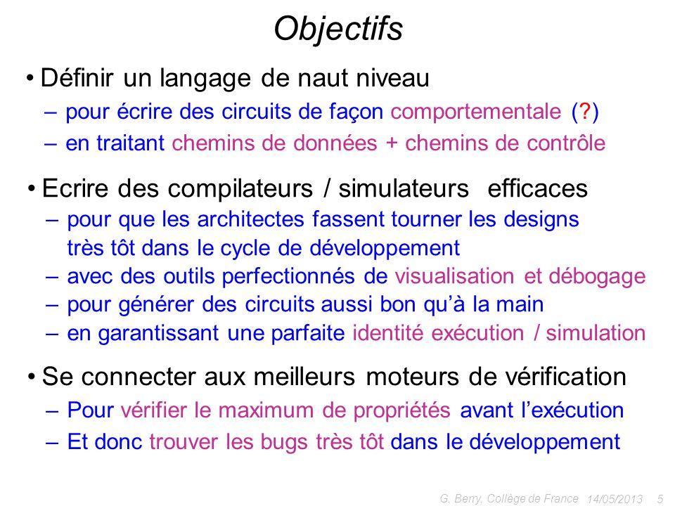 Définir un langage de naut niveau – pour écrire des circuits de façon comportementale (?) – en traitant chemins de données + chemins de contrôle 14/05