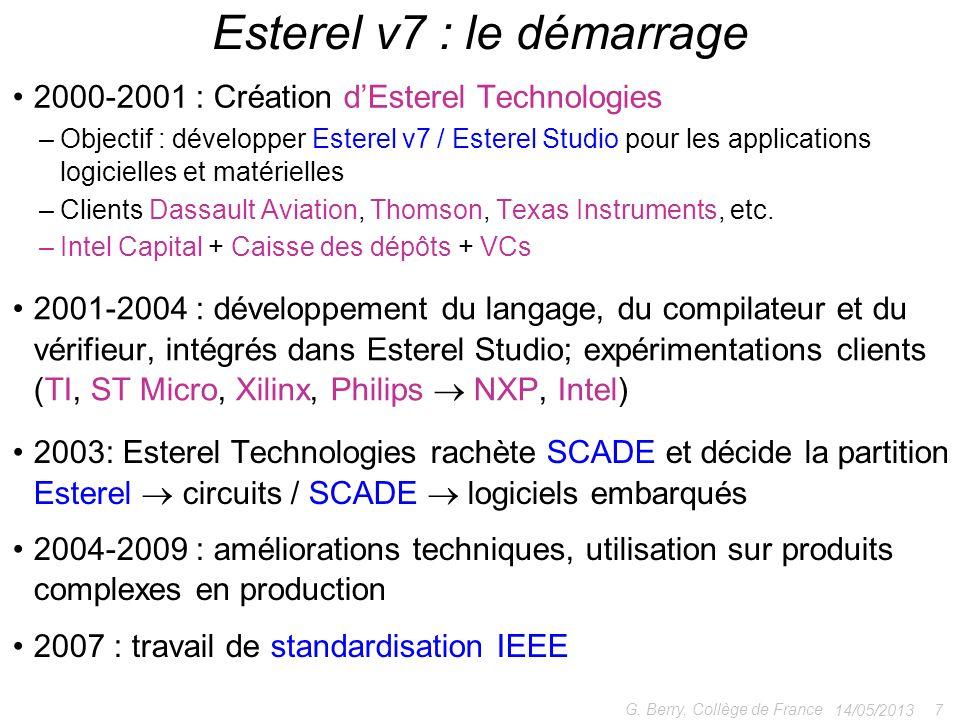 2000-2001 : Création dEsterel Technologies –Objectif : développer Esterel v7 / Esterel Studio pour les applications logicielles et matérielles –Client