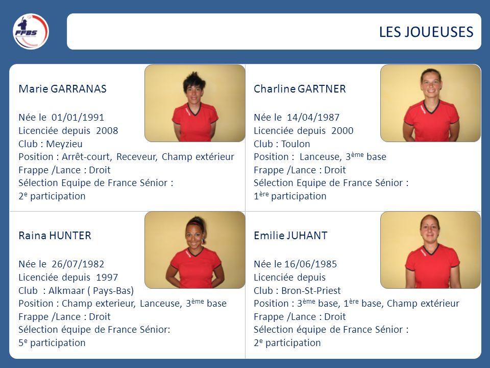 Marie GARRANAS Née le 01/01/1991 Licenciée depuis 2008 Club : Meyzieu Position : Arrêt-court, Receveur, Champ extérieur Frappe /Lance : Droit Sélectio