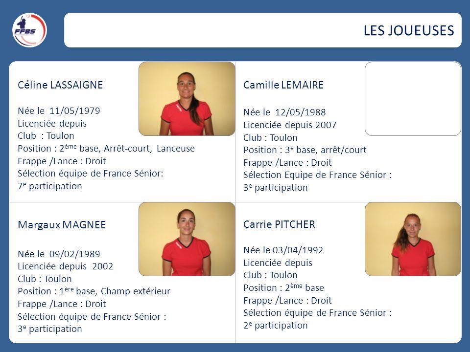 Céline LASSAIGNE Née le 11/05/1979 Licenciée depuis Club : Toulon Position : 2 ème base, Arrêt-court, Lanceuse Frappe /Lance : Droit Sélection équipe