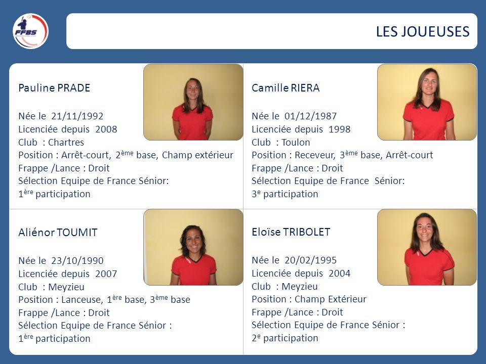 Pauline PRADE Née le 21/11/1992 Licenciée depuis 2008 Club : Chartres Position : Arrêt-court, 2 ème base, Champ extérieur Frappe /Lance : Droit Sélect
