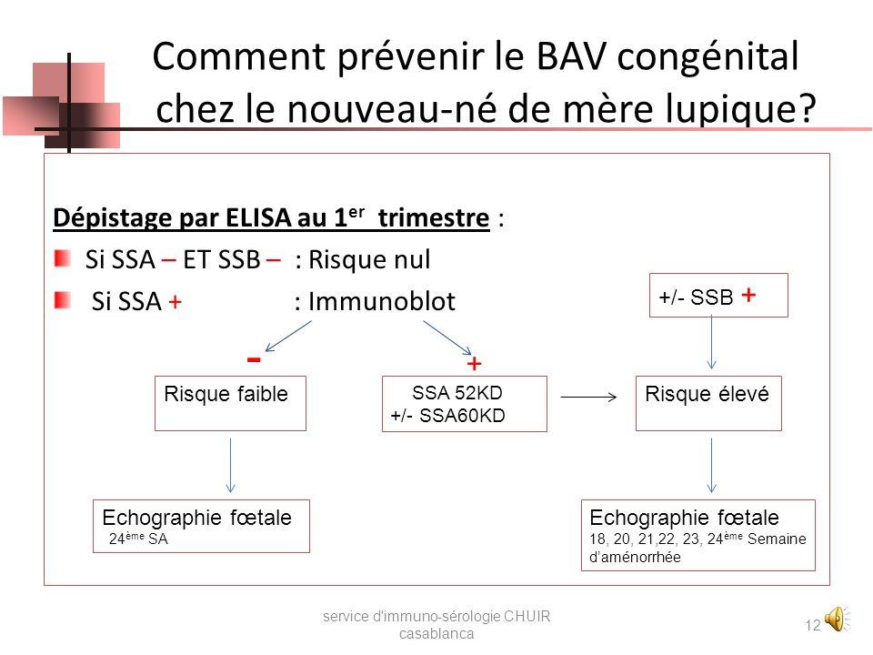 Intérêt du dépistage anti-SSA 60 kD et 52 kD service d'immuno-sérologie CHUIR casablanca 11 Si Régression avec la maturation du fœtus Evolution favora