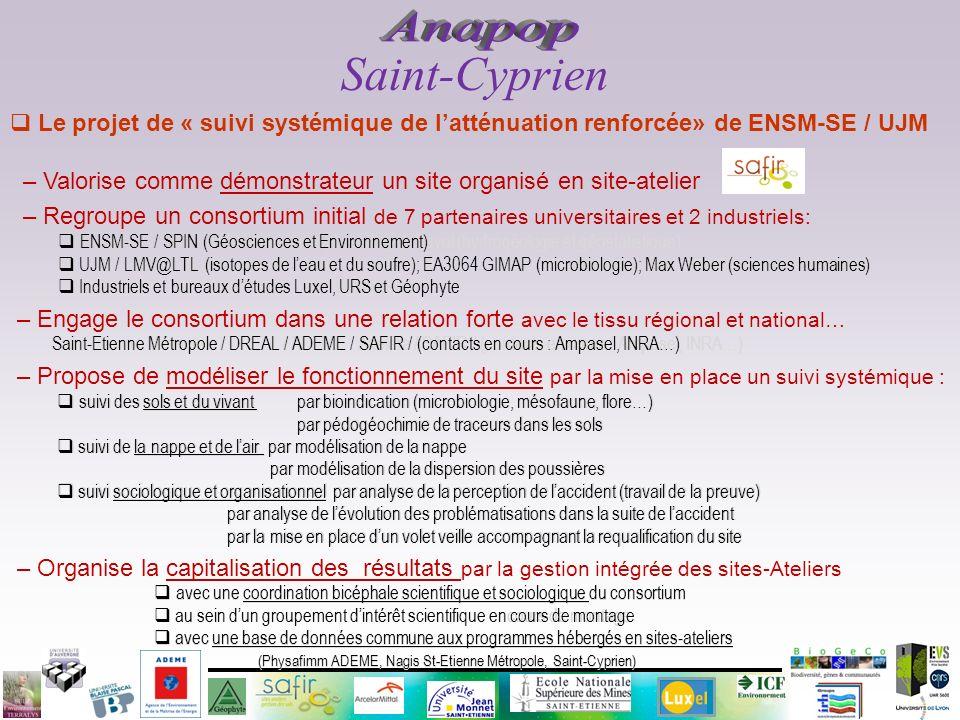 Le projet de « suivi systémique de latténuation renforcée» de ENSM-SE / UJM – Valorise comme démonstrateur un site organisé en site-atelier – Regroupe