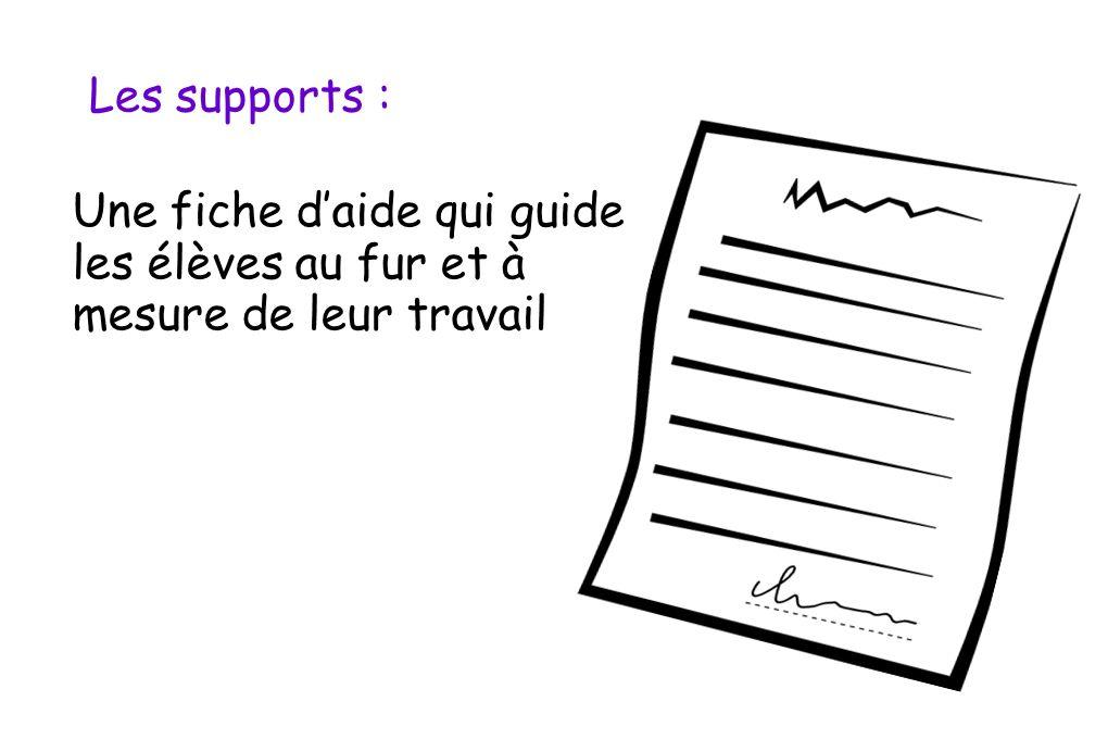 Les supports : Une fiche daide qui guide les élèves au fur et à mesure de leur travail