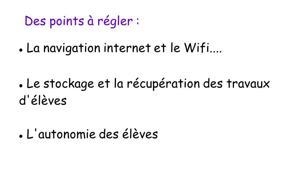Des points à régler : La navigation internet et le Wifi.... Le stockage et la récupération des travaux d'élèves L'autonomie des élèves