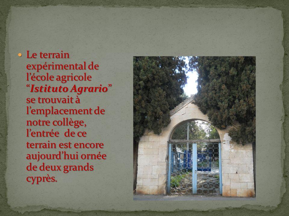 Le terrain expérimental de lécole agricoleIstituto Agrario se trouvait à lemplacement de notre collège, lentrée de ce terrain est encore aujourdhui ornée de deux grands cyprès.