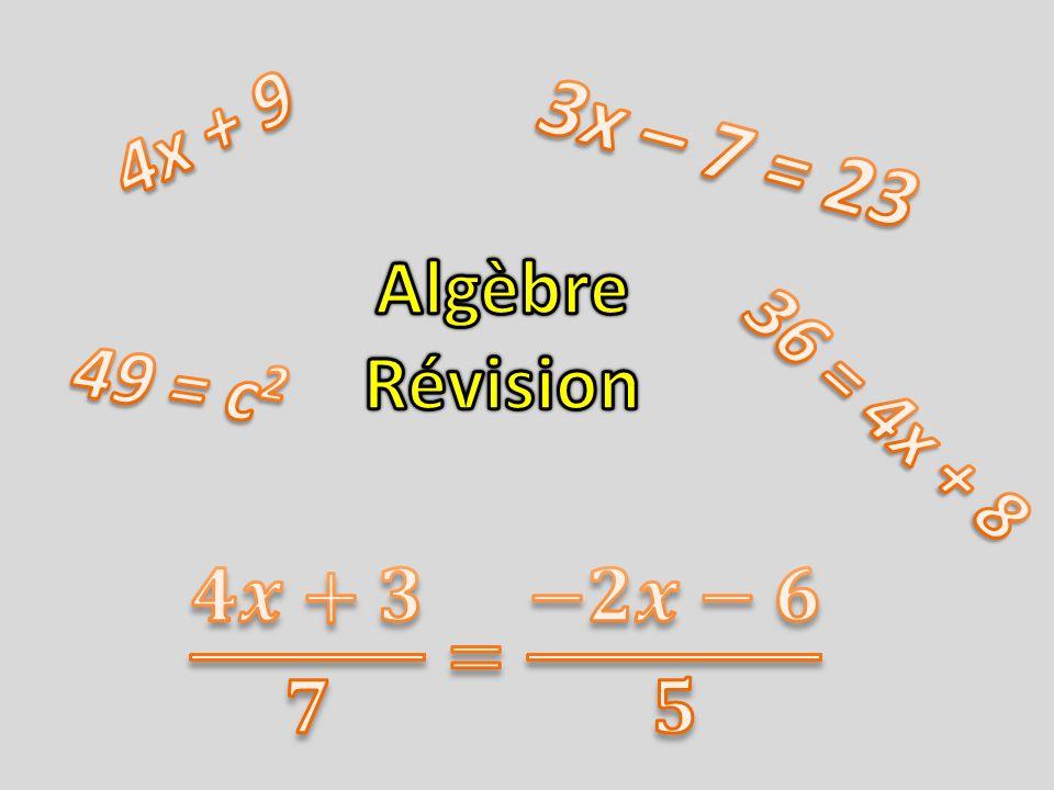 À partir de lexpression algébrique suivante : Indique le coefficient du premier terme : Indique le nombre de termes : Indique lexposant de la variable du deuxième terme : Quel est le terme constant :