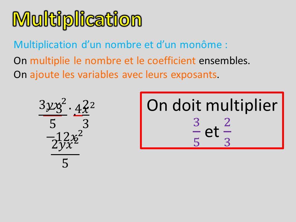 Multiplication dun nombre et dun monôme : On multiplie le nombre et le coefficient ensembles. On ajoute les variables avec leurs exposants.