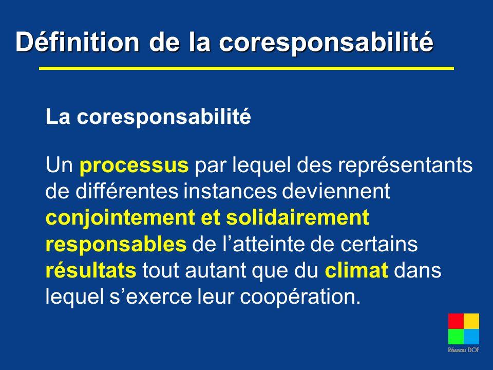 Définition de la coresponsabilité La coresponsabilité Un processus par lequel des représentants de différentes instances deviennent conjointement et s