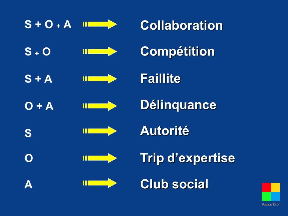 S + O + A S + O S + A O + A S O A Collaboration Faillite Délinquance Autorité Trip dexpertise Club social Compétition
