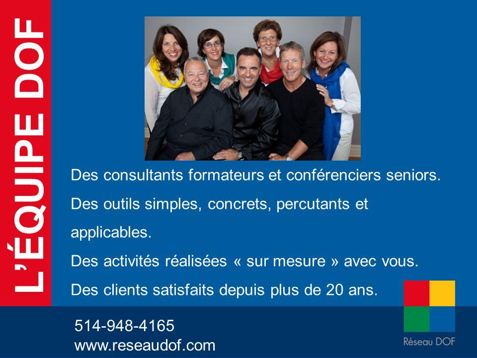 LÉQUIPE DOF Des consultants formateurs et conférenciers seniors. Des outils simples, concrets, percutants et applicables. Des activités réalisées « su
