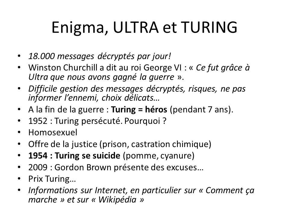 Enigma, ULTRA et TURING 18.000 messages décryptés par jour! Winston Churchill a dit au roi George VI : « Ce fut grâce à Ultra que nous avons gagné la