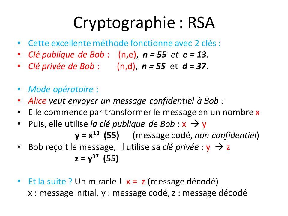 Cryptographie : RSA Cette excellente méthode fonctionne avec 2 clés : Clé publique de Bob : (n,e), n = 55 et e = 13. Clé privée de Bob : (n,d), n = 55