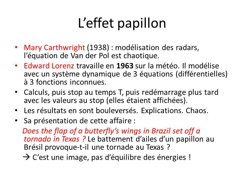 Leffet papillon Mary Carthwright (1938) : modélisation des radars, léquation de Van der Pol est chaotique. Edward Lorenz travaille en 1963 sur la mété
