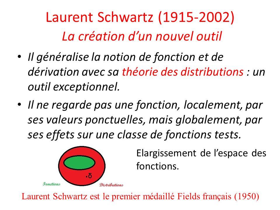 Laurent Schwartz (1915-2002) La création dun nouvel outil Il généralise la notion de fonction et de dérivation avec sa théorie des distributions : un