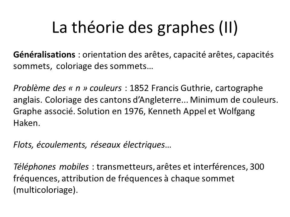 La théorie des graphes (II) Généralisations : orientation des arêtes, capacité arêtes, capacités sommets, coloriage des sommets… Problème des « n » co