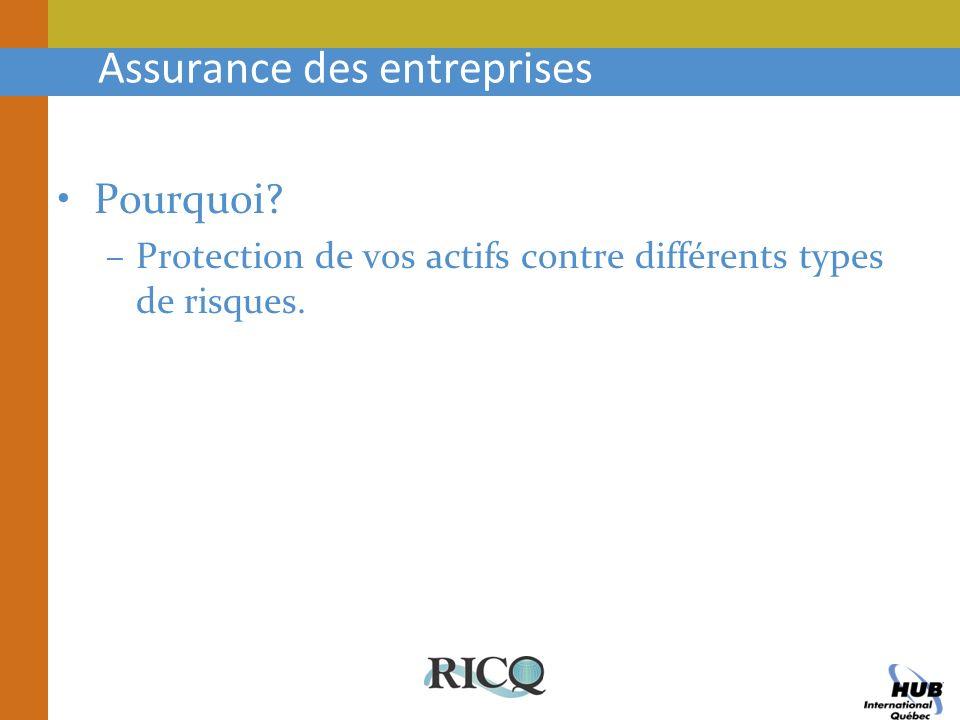 Assurance des entreprises Pourquoi? –Protection de vos actifs contre différents types de risques.