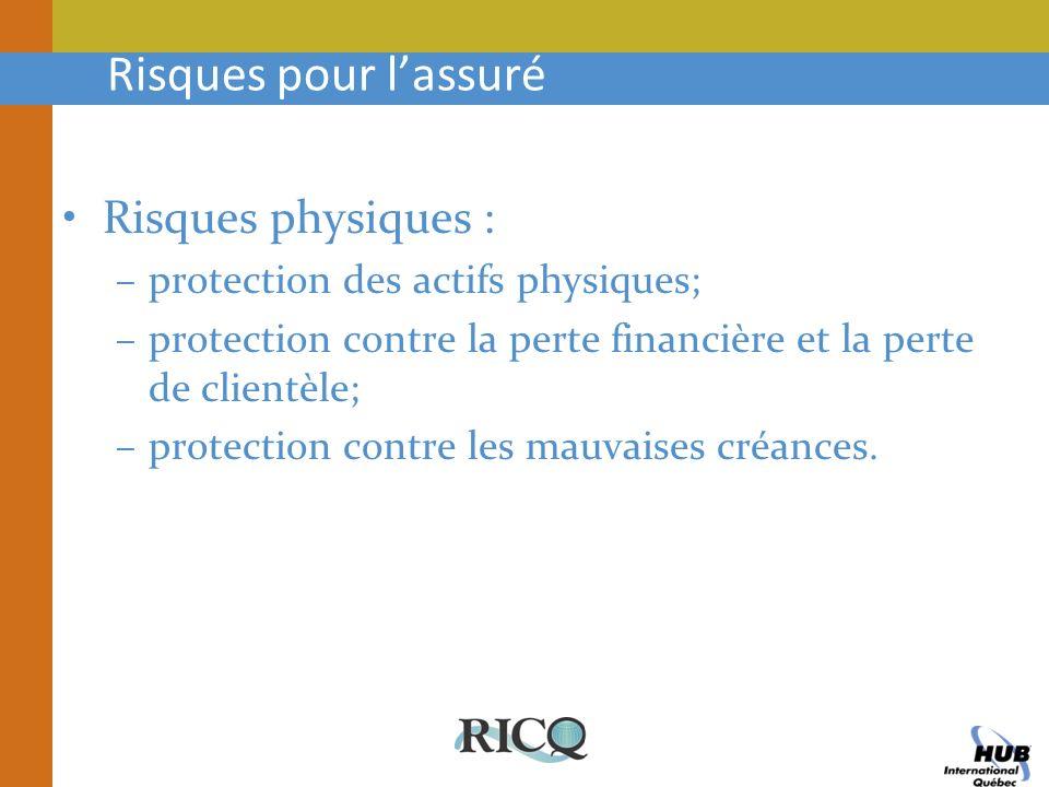 Risques pour lassuré Risques physiques : –protection des actifs physiques; –protection contre la perte financière et la perte de clientèle; –protectio