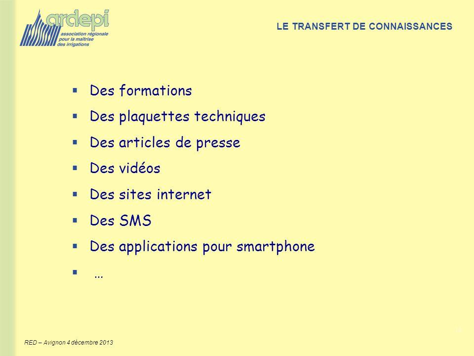 11 RED – Avignon 4 décembre 2013 Des formations Des plaquettes techniques Des articles de presse Des vidéos Des sites internet Des SMS Des application