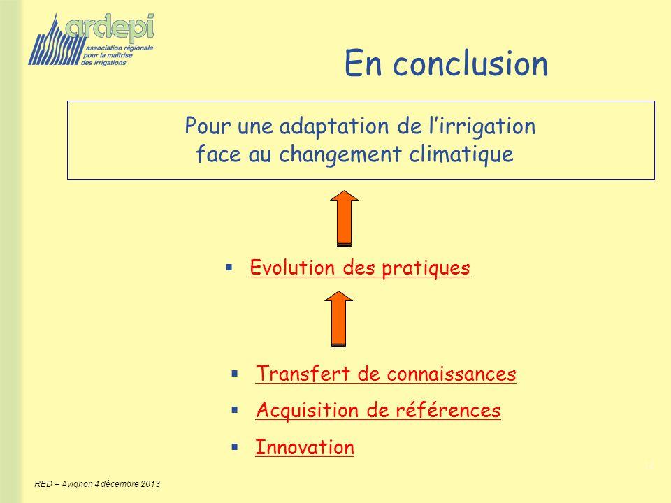 12 RED – Avignon 4 décembre 2013 Pour une adaptation de lirrigation face au changement climatique En conclusion Evolution des pratiques Transfert de c